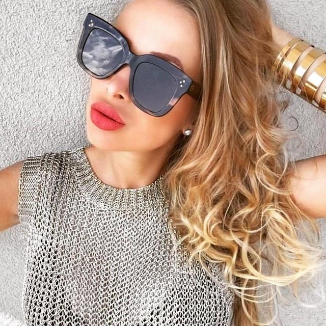 Luxury Italian Sunglasses Women Brand Designer Full Star Sun Glasses Female Mirror Retro Square Ladies Sunglasses Black Shades