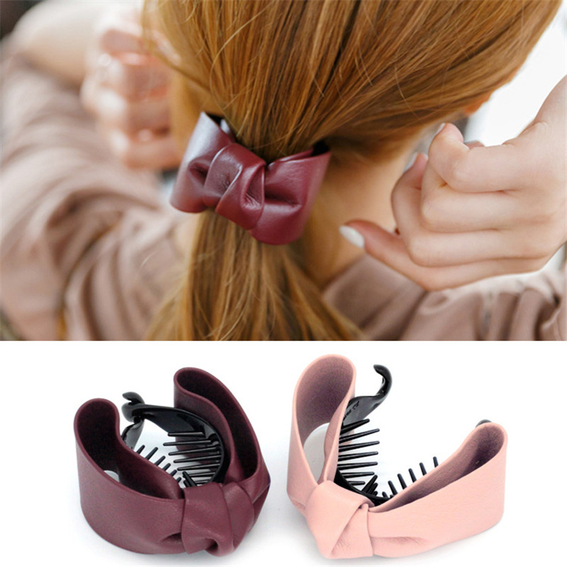 Fashion Cute knotted Bow Hair Claws PU Leather for women girl Hairgrips Ponytail Clip Elegant Hair Accessories Ornament   Headwear