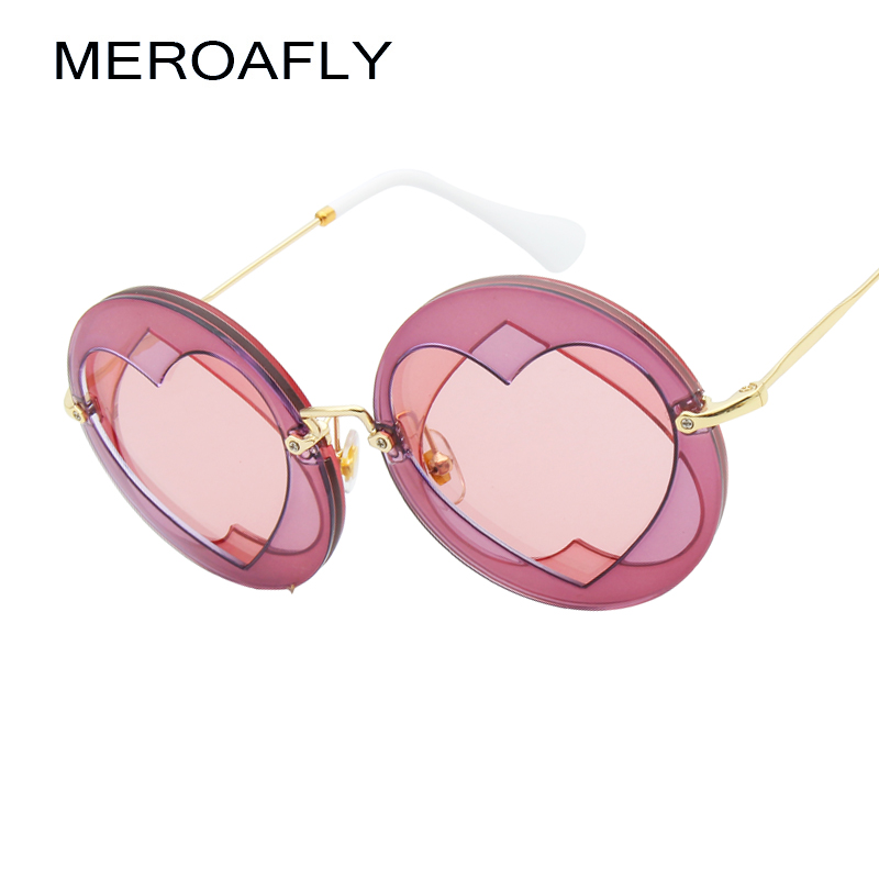 MEROAFLY Fashion Big Round Sunglasses Women Brand Designer Mirror Retro Heart Sun glasses For Women Shades UV400 Oculos