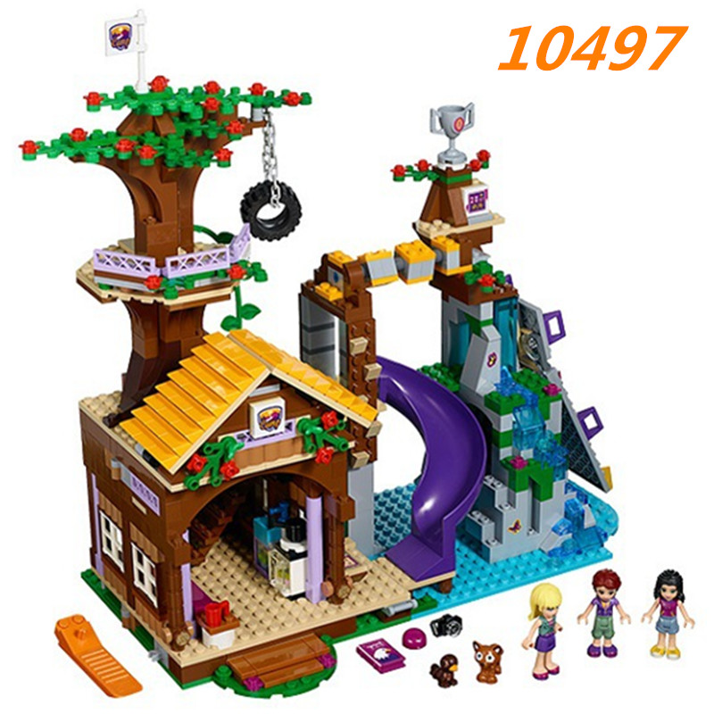Bela 10497 Adventure Camp Tree House Building Block Set Stephanie Emma Joy Figures Girls Toy Compatible with Legoe Blocks black off shoulder lace up back long sleeve crop top