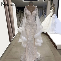 White Evening Dresses Feather Long Sleeves Mermaid Wedding Party Gowns 2019 Couture V Neck Tulle Beaded Crystals Prom Dresses