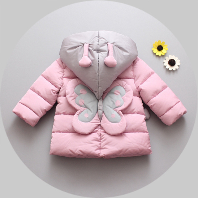2016new autumn winter cotton baby girl thicker Korean cartoon cotton clothing 1-4 years old children's girl jacket free shipping