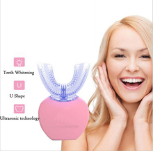 360 graus sonic escova de dentes elétrica recarregável 4 modo automático usb silicone cabeças escova inteligente u tipo dentes escova