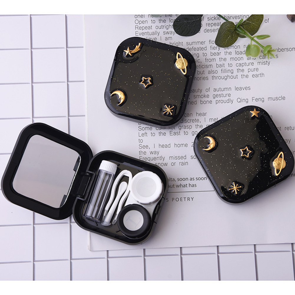 Portable Contact Lens Case Kit Holder Contact Lenses Box Moon Star Space With Mirror For Women