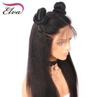 פאות תחרה מול שיער אדם שיער Elva מראש קטף דקיקים יקי פאות שיער רמי ברזילאי ישר חזית תחרת פאות עם תינוק שיער