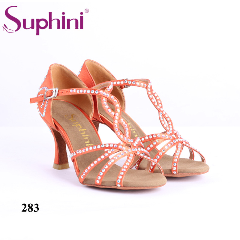Suphini 7.5cm Height Heel Latin Salsa Dance Shoes Woman Standard Heel Kizomba Bachata Dance Shoes Free Shipping