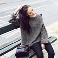 2016 Autumn Winter Women New Arrival Loose Batwing Sleeve Sweater All-match Fashion Solid Knitted Pullover