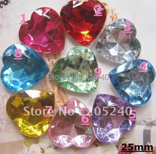 very hot and kawaii 3D acrylic heart rhinestone do not flat back  45pcs(mixed 9colors) 25mm