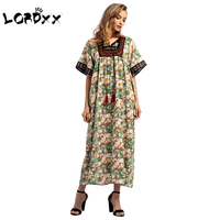 LORDXX Casual Muslim Dress Abaya Embroidery Full Dress Tassels Skirt O neck Abaya Turkey Half Sleeve Ramadan Paryer Clothing