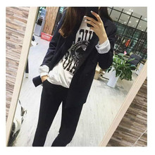Womens suit pants Fashion solid color 5XL female Black jacket set Casual Two-piece