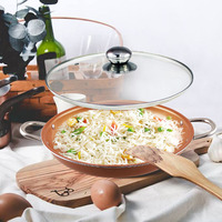 Grand Innovation Hard Anodized Copper Ceramic Coated Non Stick 14 Inch Frying Pan With Glass Lid