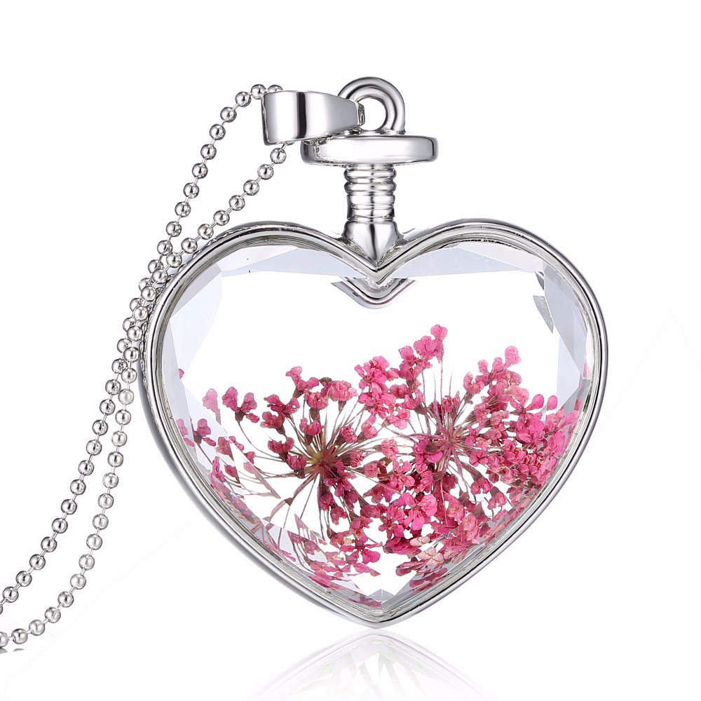 Natural Real Pink Decorative Dried Flowers Necklace Pendant Dry Flower Plants Jewelry Heart new Glass Necklace drop shipping