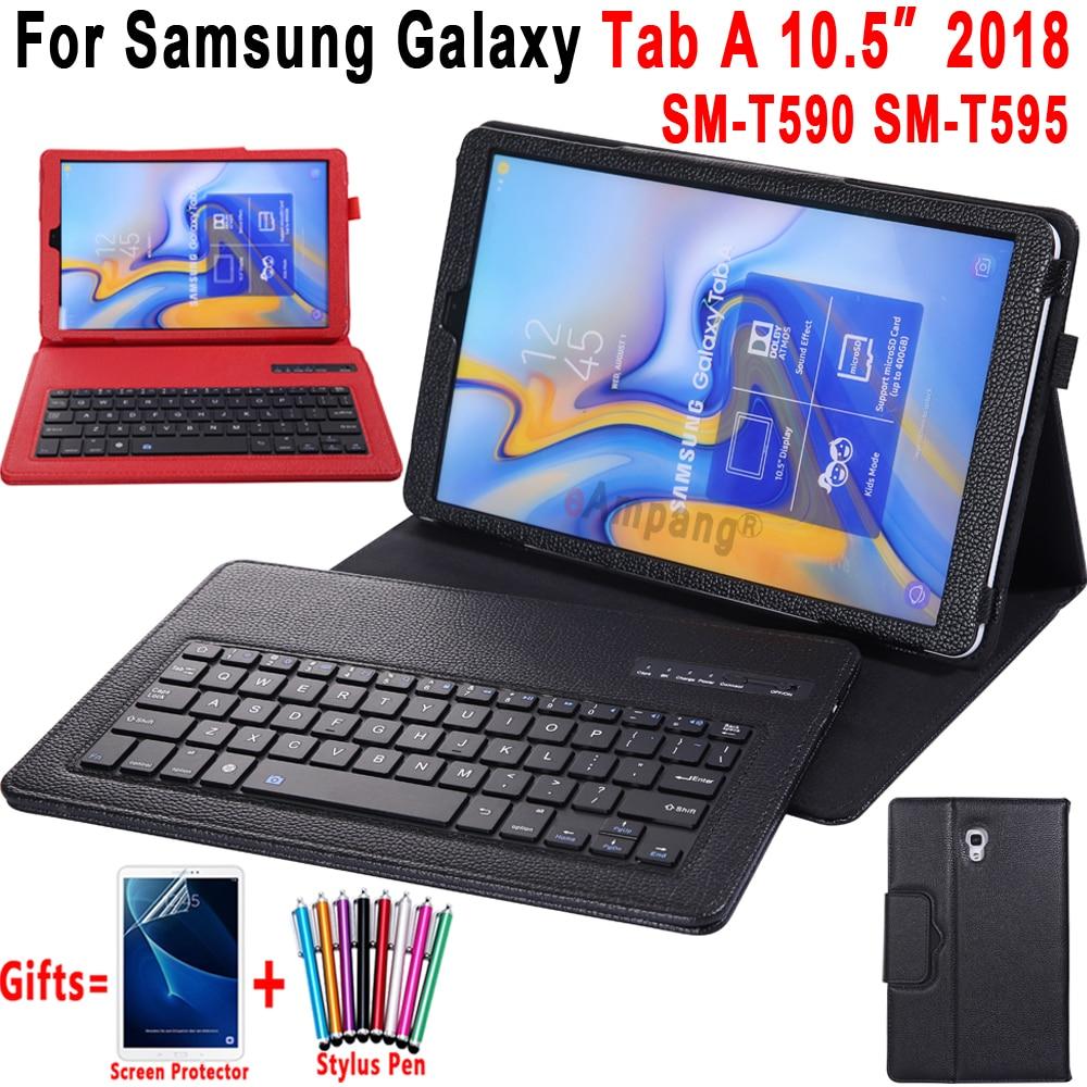 Case de Couro Bluetooth para Samsung Funda com Suporte de Lápis Tab a a2 Removível Teclado Galaxy T590 T595 Sm-t590 Capa 10.5 2020