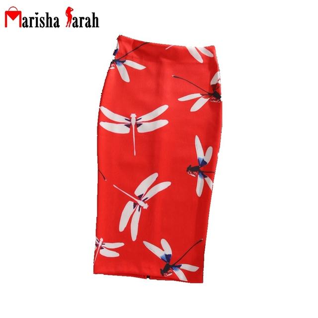 Mujeres Verano Otoño Imprimir Pencil Skirt Bodycon Midi Rodilla-Longitud Elástica de Cintura Alta de Las Señoras Patrón de La Libélula Faldas Falda de Medio