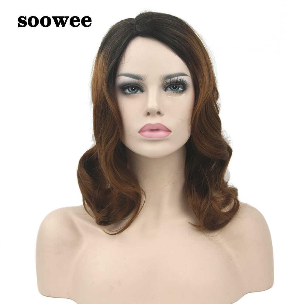 Soowee Falsche Haar Schwarz Bis Braun Ombre Perücke Bady Wellenförmige Medium Synthetische Haar Perücken-weibliche Haarteil Cosplay Perücken für frauen