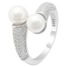 Seanlov Luxury White 2pcs Pearl Rings For Women Elegant Wedding Gift Full Zircon Adjust 925 Sterling Silver Jewelry