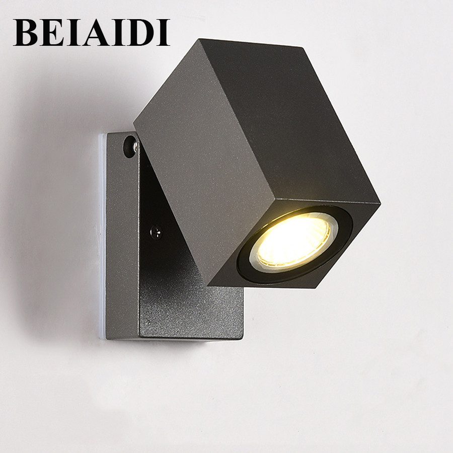 BEIAIDI Outdoor Porch wall light 90 Degree Adjustable 5W Waterproof LED Wall Lamp IP65 Courtyard Patio Corridor Porch Lights