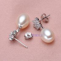 The Natural Pearl Earrings 925 Sterling Silver Genuine Pearl Stud earring snow big drop shipping diy real ston