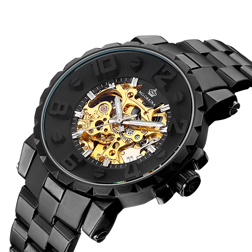 MG. ORKINA MG Top Brand Luxury Black Watch Men Mechanical Watches Men Skeleton Watch reloj hombre automatico Relogio MasculinoMG. ORKINA MG Top Brand Luxury Black Watch Men Mechanical Watches Men Skeleton Watch reloj hombre automatico Relogio Masculino