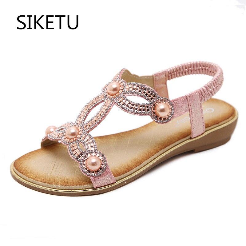SIKETU European Fashion Sandals Flower Beading Crystal Rhinestone Luxury  Diamond High Quality Ladies Sandals Large Size 35-42 92935e5116e5