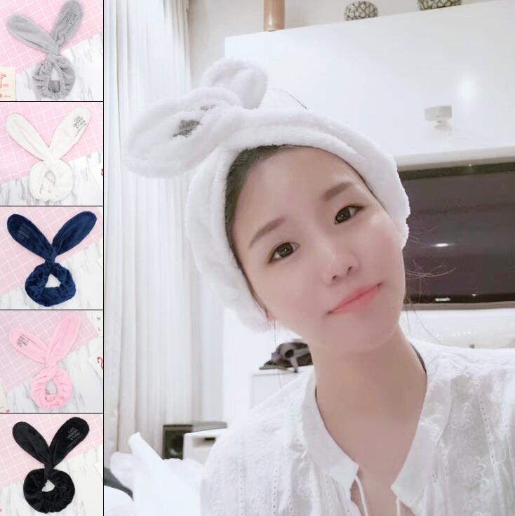 Girls Hair Band Wash Face Bath Spa Makeup Wrap Rabbit Ears Headband Soft Elastic