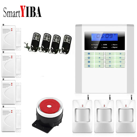 SmartYIBA 99 Wireless Zones Home Burglar Alarm System Pstn Gsm Voice Prompt LCD Keyboard Russian Spanish French Italian Voice yobangsecurity home gsm pstn alarm system 433mhz voice prompt lcd keyboard wireless alarma gsm with outdoor siren flash