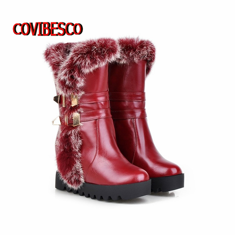 Hot font b Women b font boots winter high heels knee high boots warm cotton padded