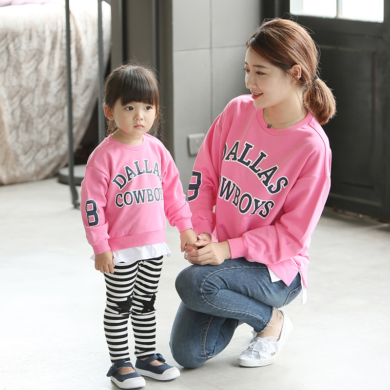 Family Matching Outfits 2017 Spring New Baby Letter Printing Small Boys and Girls Pullovers Korean Parent