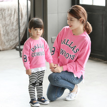 Family Matching Outfits 2017 Spring New Baby Letter Printing Small Boys and Girls Pullovers Korean Parent-child Clothing Sweater
