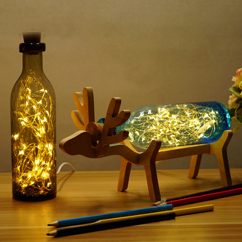Novelty Wood + Glass Bottles Desktop Decoration Creative