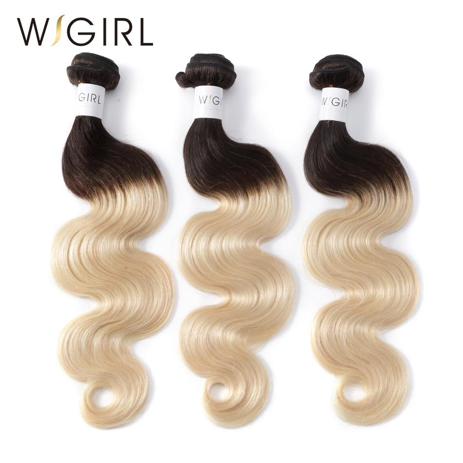Wigirl Hair Remy 1B 613 Ombre Brazilian Hair Weave Bundles 3 PC Body Wave 2 Tone
