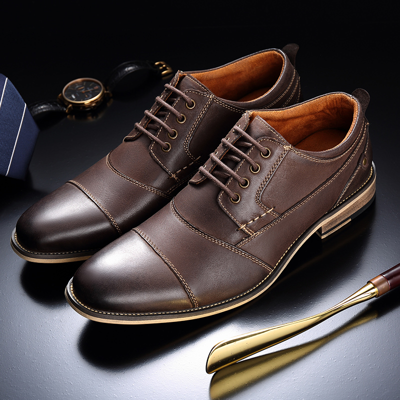 Genuine cow Leather Men formal shoes gents classic designer leather elegant luxury men oxford shoes FZ18911