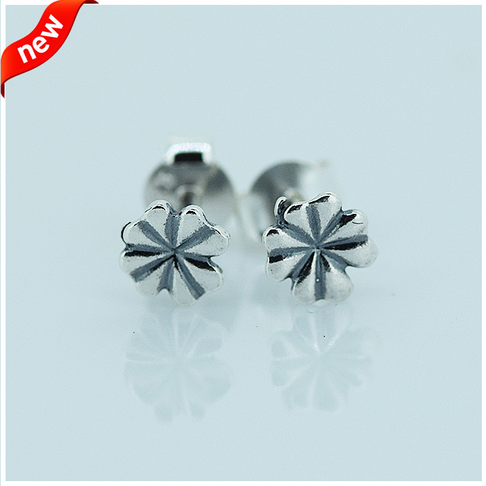 Clover Stud Earrings 100% 925 Sterling Silver Fashion Jewelry For Women Free Shipping