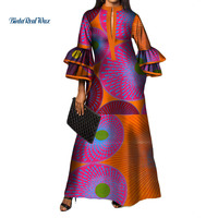 New African Print Long Dresses for Women Bazin Riche 100% Cotton Ruffles Sleeve Dresses Vestidos African Design Clothing WY3472