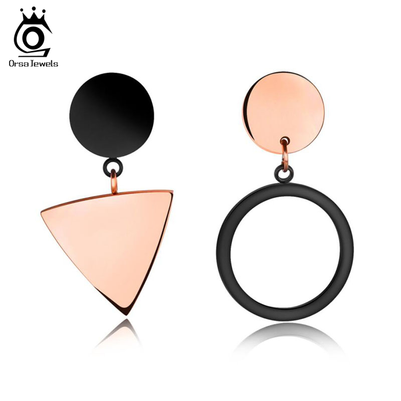 ORSA JEWELS Stainless Steel Women Stud Earrings Unique Triangle&Round Shape Rose Gold Mix Black Color Earring Jewelry JTE170 pair of stylish rhinestone triangle stud earrings for women