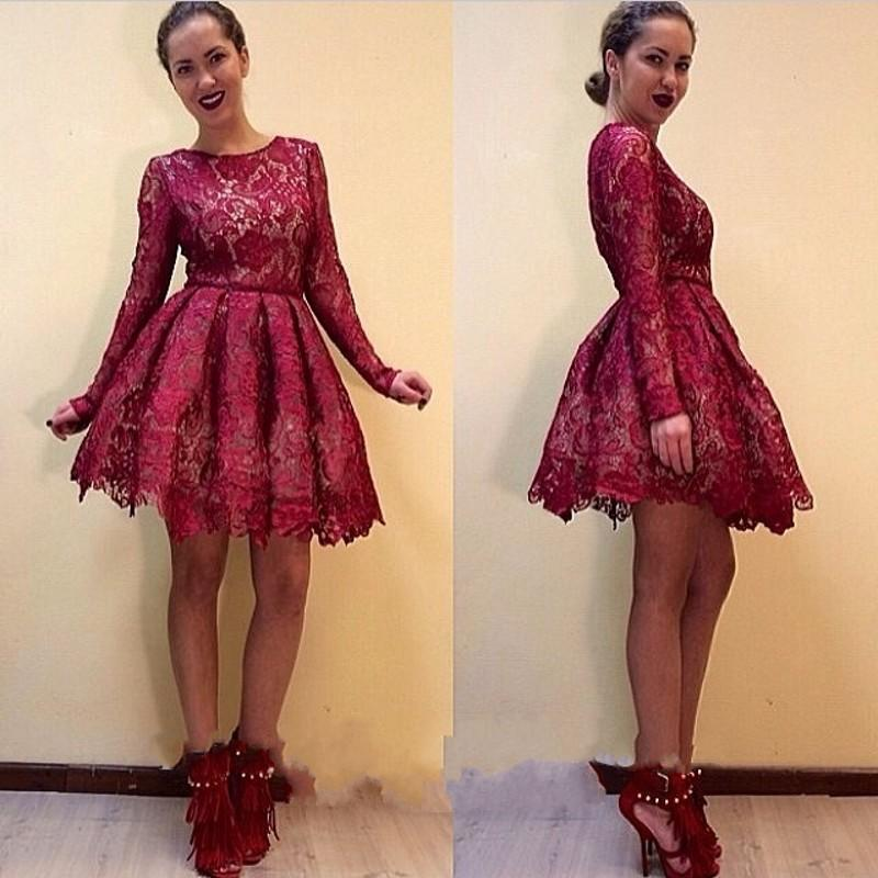 Burgundy Lace Short Homecoming Dresses Long Sleeves 8th Grade Prom