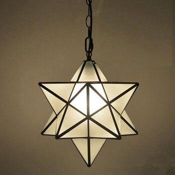 Лофт винтажный подвесной светильник, светящаяся звезда Тиффани, стеклянный потолочный светильник для дома, прохода, коридора, крыльца, мага...