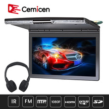 Monitor de techo para coche de 17,3 pulgadas, 1920x1080, MP5, soporte abatible hacia abajo, reproductor de DVD para coche con transmisor IR FM, altavoz HDMI, SD, juegos USB