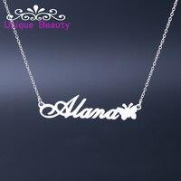 Großhandel Personalisierte Name Halskette mit schmetterling in 925 Solide Silber, benutzerdefinierte Name Charm, ziemlich Name Kette Dainty Schmuck