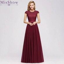 цена на 2019 Evening Dresses Burgundy Elegant Scoop Neck Chiffon Formal Evening Gown Under 30$ Party Dress With Belt Robe De Soiree