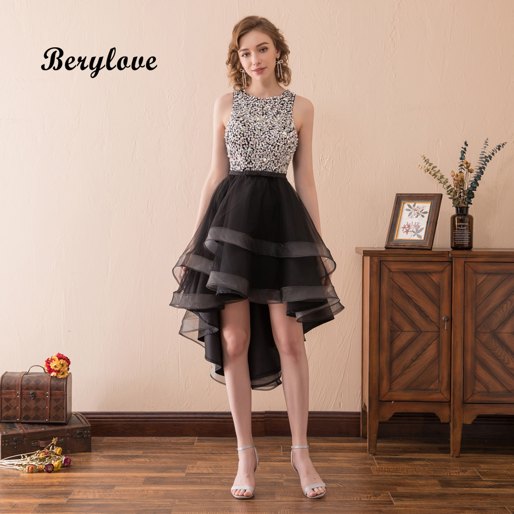 BeryLove Fashion High Low Black Prom Dresses 2018 Beaded Tulle Prom Gowns Women Short Graduation Dresses Gowns For Prom Party