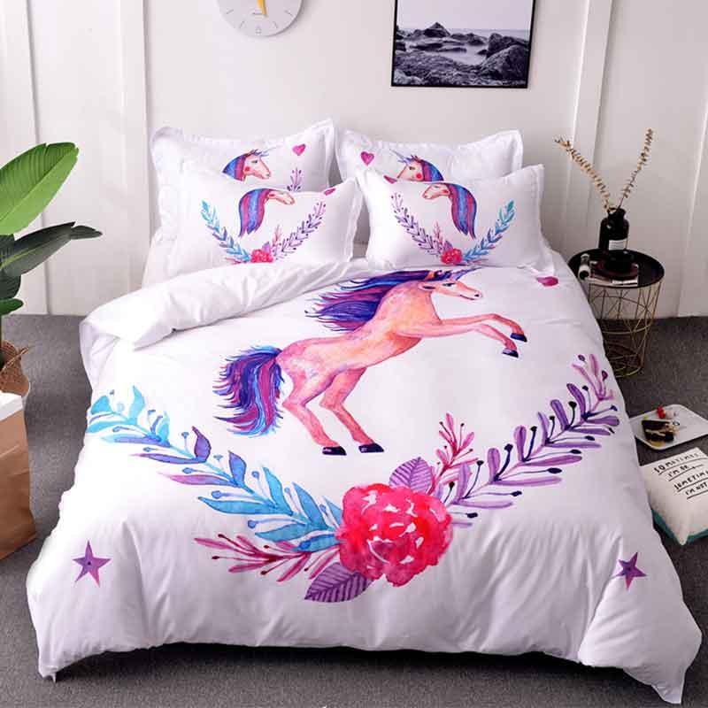 Unicorn Bedding Sets Queen Size Watercolor Print Bed Set