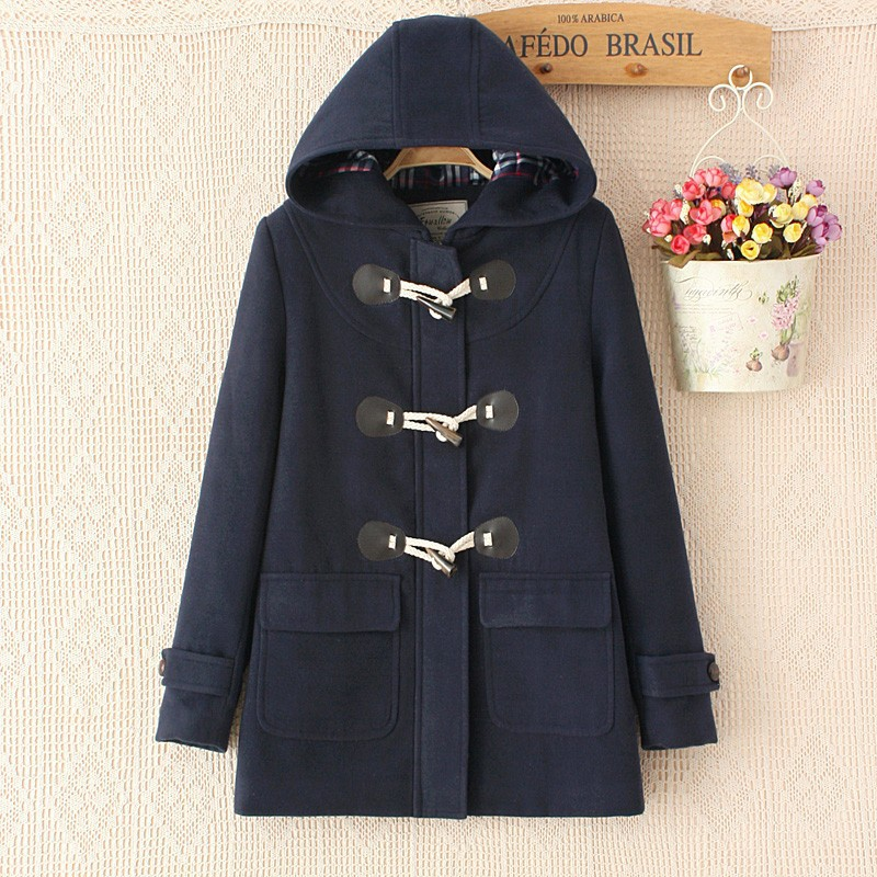 Duffle Coat Long Turn Down Horn Button Hooded Collar Woolen ...