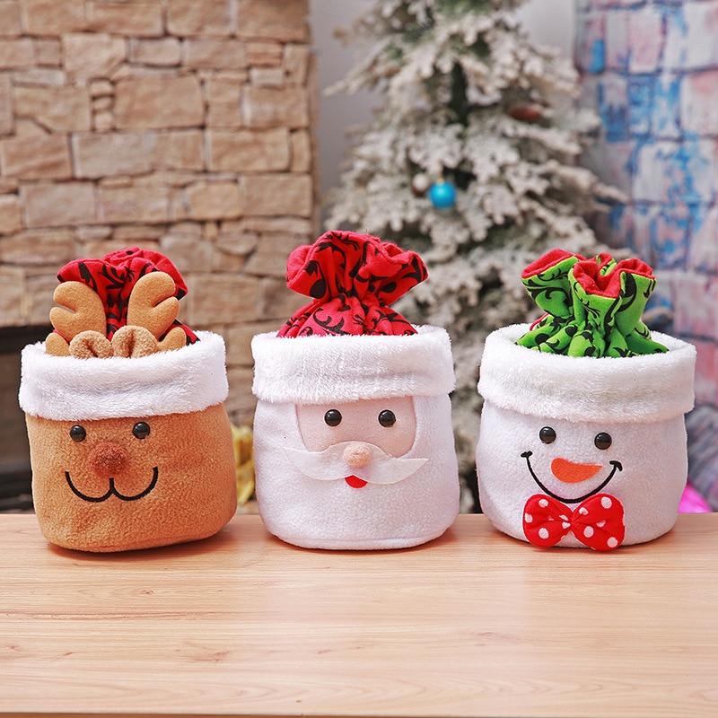 Cute Christmas Gift Bags Santa Claus Snowman Elk Candy Bag ...