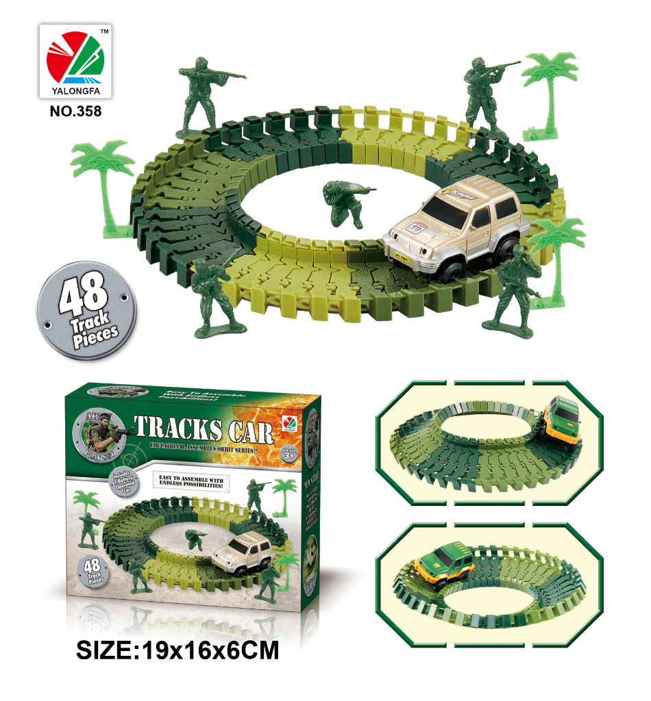 Купить с кэшбэком Electric Car With Light Race Track Ramp Turn Road Bridge Crossroads DIY Universal Accessories Toys For Children