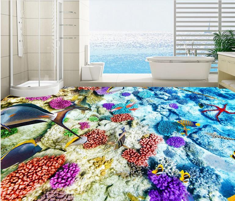 3d flooring pvc wallpaper self adhesive leather seabed flooring for bathrooms luxury wallpaper 3d floor murals
