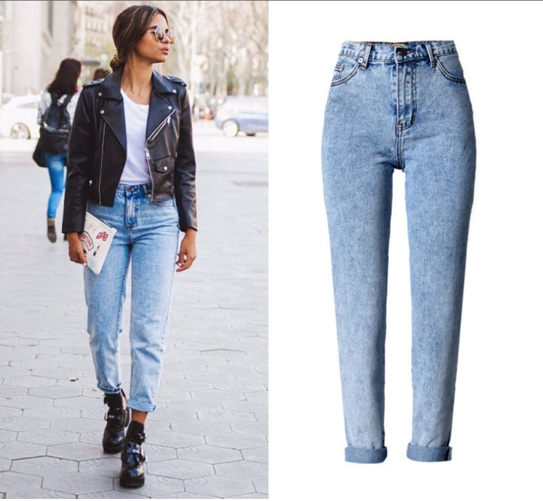 ФОТО Slim Jeans For Women Skinny High Waist Jeans Woman Blue Denim Pencil Pants Stretch Waist Women Jeans Black PantsFree shipping