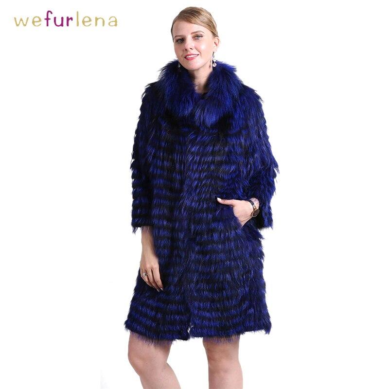 Women 100% Genuine Silver Fox Fur Coat Knitted Striped Real Fox Fur Warm Collar Female Clothes Jacket Female 90cm Outerwear