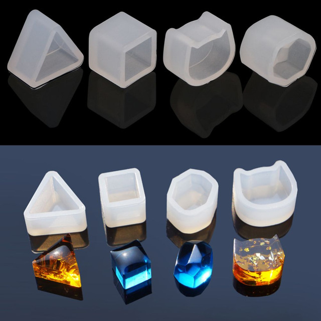 4Pcs/set Triangle Cat Square Shape Silicone Earring Mold Mould For Epoxy Resin Flower Herbarium Jewelry Making Tools