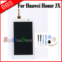 White For Huawei Honor 3X G750 LCD Display touch Screen with digitizer assembly + tools Free shipping Track No.